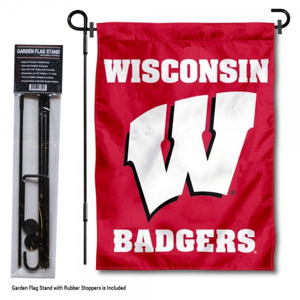 "Wisconsin Badgers Motion W Garden Flag and Stand kit includes our 13""x18"" garden banner which is made of 2 ply poly with liner and has screen printed licensed logos. Also, a 40""x17"" inch garden flag stand is included so your Wisconsin Badgers Motion W Garden Flag and Stand is ready to be displayed with no tools needed for setup. Fast Overnight Shipping is offered and the flag is Officially Licensed and Approved by the selected team."