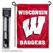 Wisconsin Badgers Motion W Garden Flag and Stand