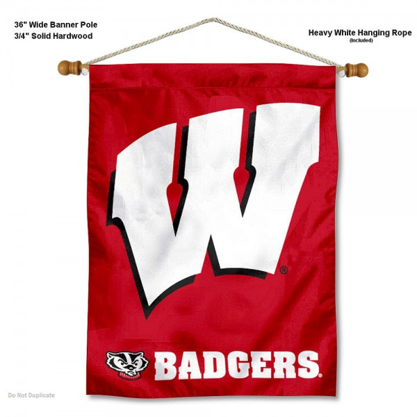 "Wisconsin Badgers Motion W Wall Banner is constructed of polyester material, measures a large 30""x40"", offers screen printed athletic logos, and includes a sturdy 3/4"" diameter and 36"" wide banner pole and hanging cord. Our Wisconsin Badgers Motion W Wall Banner is Officially Licensed by the selected college and NCAA."