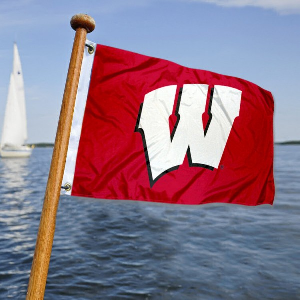 Wisconsin Badgers Nautical Flag measures 12x18 inches, is made of two-ply polyesters, offers quadruple stitched flyends for durability, has two metal grommets, and is viewable from both sides. Our Wisconsin Badgers Nautical Flag is officially licensed by the selected university and the NCAA and can be used as a motorcycle flag, golf cart flag, or ATV flag