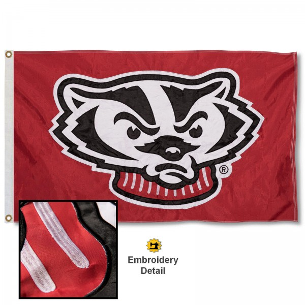Wisconsin Badgers Nylon Embroidered Flag measures 3'x5', is made of 100% nylon, has quadruple flyends, two metal grommets, and has double sided appliqued and embroidered University logos. These Wisconsin Badgers 3x5 Flags are officially licensed by the selected university and the NCAA.
