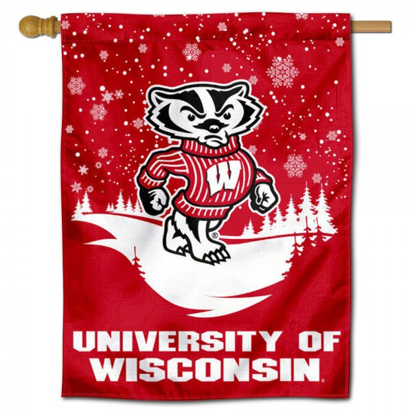 "Wisconsin Badgers Snowflake House Flag is a double sided vertical house flag which measures 30"" x 40"" inches, is made of thick 100% polyester, offers screen printed NCAA team insignias, and has a top pole sleeve to hang vertically. Our Wisconsin Badgers Snowflake House Flag is officially licensed by the selected university and the NCAA and is double sided."