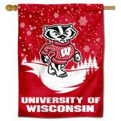 Wisconsin Badgers Snowflake House Flag