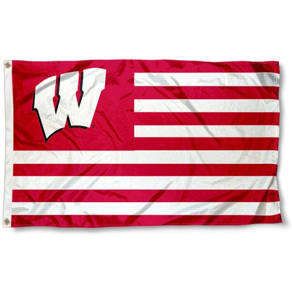 Wisconsin Badgers Striped Flag measures 3'x5', is made of polyester, offers double stitched flyends for durability, has two metal grommets, and is viewable from both sides with a reverse image on the opposite side. Our Wisconsin Badgers Striped Flag is officially licensed by the selected school university and the NCAA.