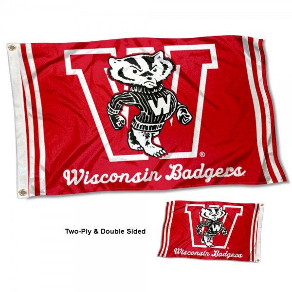 Wisconsin Badgers Throwback Double Sided Flag measures 3'x5', is made of 2 layer 100% polyester, has quadruple stitched flyends for durability, and is readable correctly on both sides. Our Wisconsin Badgers Throwback Double Sided Flag is officially licensed by the university, school, and the NCAA.