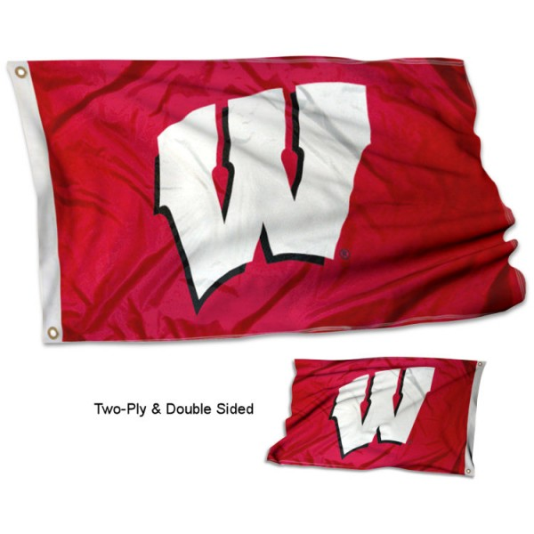 Wisconsin Badgers W Flag measures 3'x5', is made of 2 layer 100% polyester, has quadruple stitched flyends for durability, and is readable correctly on both sides. Our Wisconsin Badgers W Flag is officially licensed by the university, school, and the NCAA