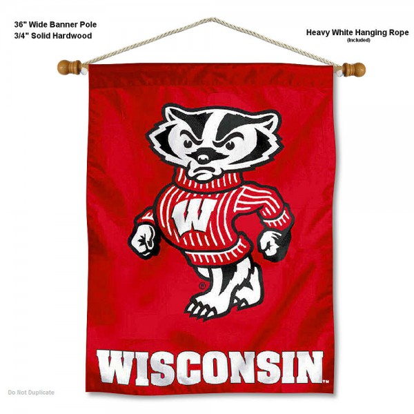 "Wisconsin Badgers Wall Banner is constructed of polyester material, measures a large 30""x40"", offers screen printed athletic logos, and includes a sturdy 3/4"" diameter and 36"" wide banner pole and hanging cord. Our Wisconsin Badgers Wall Banner is Officially Licensed by the selected college and NCAA."