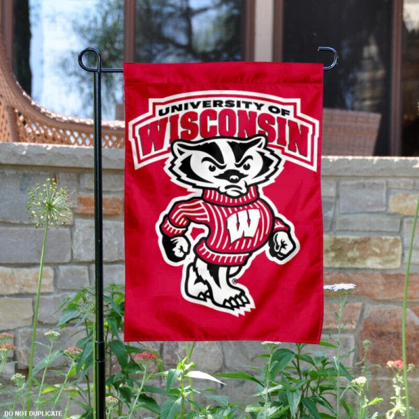 Wisconsin Badgers Yard Flag is 13x18 inches in size, is made of 2-layer polyester, screen printed Wisconsin Badgers athletic logos and lettering. Available with Same Day Express Shipping, Our Wisconsin Badgers Yard Flag is officially licensed and approved by Wisconsin Badgers and the NCAA.