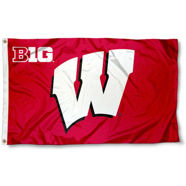 Wisconsin Big 10 Flag measures 3'x5', is made of 100% poly, has quadruple stitched sewing, two metal grommets, and has double sided Team University logos. Our Wisconsin Big 10 Flag is officially licensed by the selected university and the NCAA.