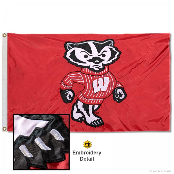 Wisconsin Bucky Badgers Nylon Embroidered Flag measures 3'x5', is made of 100% nylon, has quadruple flyends, two metal grommets, and has double sided appliqued and embroidered University logos. These Wisconsin Bucky Badgers 3x5 Flags are officially licensed by the selected university and the NCAA.