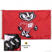 Wisconsin Bucky Badgers Nylon Embroidered Flag
