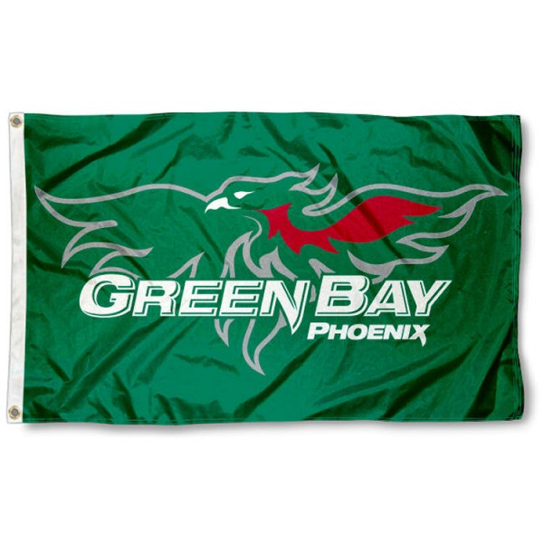 Wisconsin Green Bay Phoenix Flag is made of 100% nylon, offers quad stitched flyends, measures 3x5 feet, has two metal grommets, and is viewable from both side with the opposite side being a reverse image. Our Wisconsin Green Bay Phoenix Flag is officially licensed by the selected college and NCAA