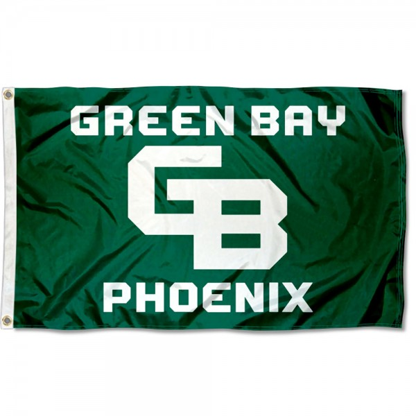 Wisconsin Green Bay Phoenix GB Logo Flag measures 3x5 feet, is made of 100% polyester, offers quadruple stitched flyends, has two metal grommets, and offers screen printed NCAA team logos and insignias. Our Wisconsin Green Bay Phoenix GB Logo Flag is officially licensed by the selected university and NCAA.