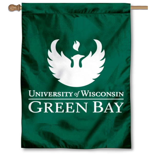 Wisconsin Green Bay Phoenix Logo Double Sided House Flag is a vertical house flag which measures 30x40 inches, is made of 2 ply 100% polyester, offers screen printed NCAA team insignias, and has a top pole sleeve to hang vertically. Our Wisconsin Green Bay Phoenix Logo Double Sided House Flag is officially licensed by the selected university and the NCAA.