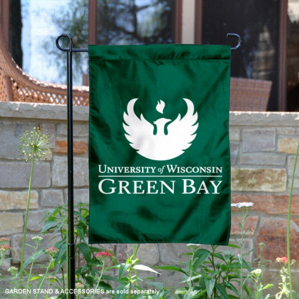 Wisconsin Green Bay Phoenix Wordmark Logo Garden Flag is 13x18 inches in size, is made of 2-layer polyester, screen printed university athletic logos and lettering, and is readable and viewable correctly on both sides. Available same day shipping, our Wisconsin Green Bay Phoenix Wordmark Logo Garden Flag is officially licensed and approved by the university and the NCAA.