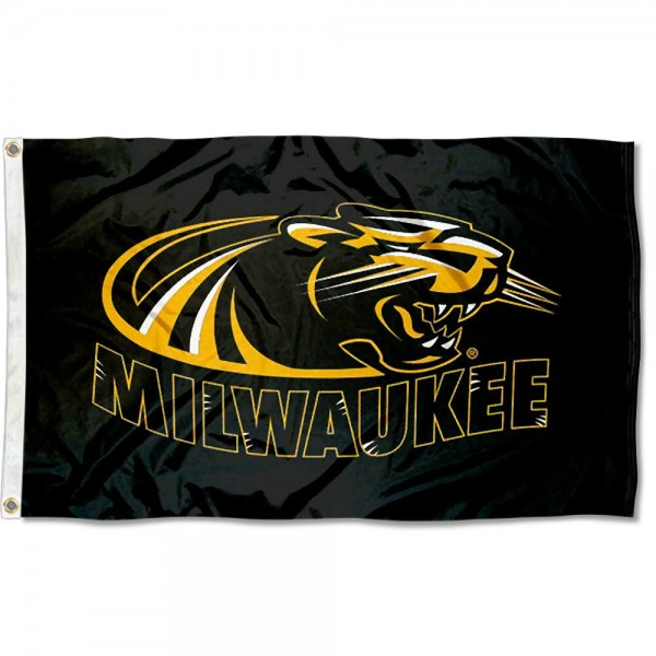 Wisconsin Milwaukee Panthers Flag measures 3'x5', is made of 100% poly, has quadruple stitched sewing, two metal grommets, and has double sided UWM Panthers logos. Our Wisconsin Milwaukee Panthers Flag is officially licensed by the selected university and the NCAA.