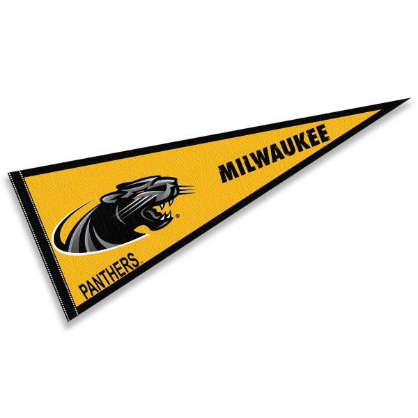 Wisconsin Milwaukee Panthers Pennant consists of our full size sports pennant which measures 12x30 inches, is constructed of felt, is single sided imprinted, and offers a pennant sleeve for insertion of a pennant stick, if desired. This Wisconsin Milwaukee Panthers Pennant Decorations is Officially Licensed by the selected university and the NCAA.
