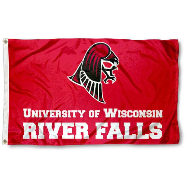 Wisconsin River Falls Falcons Flag is made of 100% nylon, offers quad stitched flyends, measures 3x5 feet, has two metal grommets, and is viewable from both side with the opposite side being a reverse image. Our Wisconsin River Falls Falcons Flag is officially licensed by the selected college and NCAA