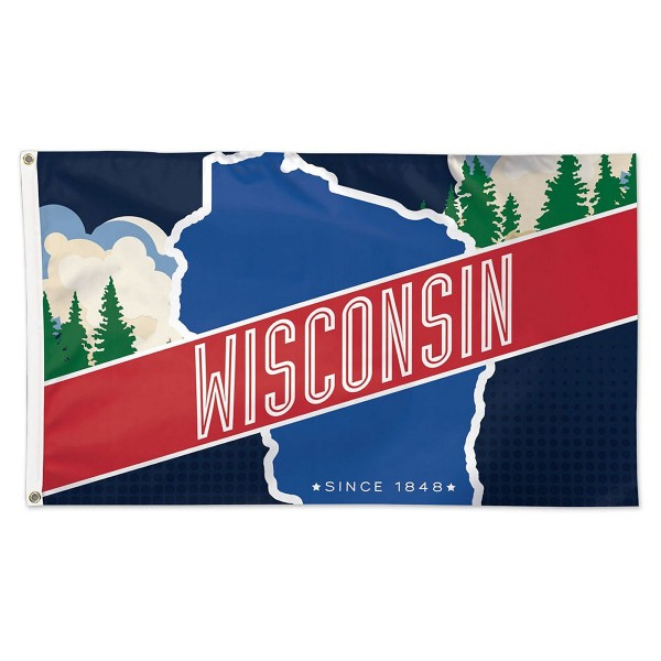 Wisconsin Since 1848 Flag measures 3'x5', is made of 100% poly, has quadruple stitched sewing, two metal grommets, and has double sided Wisconsin Since 1848 logos.