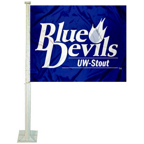 Wisconsin Stout UW Car Window Flag measures 12x15 inches, is constructed of sturdy 2 ply polyester, and has dye sublimated school logos which are readable and viewable correctly on both sides. Wisconsin Stout UW Car Window Flag is officially licensed by the NCAA and selected university.