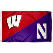 Wisconsin vs Northwestern House Divided 3x5 Flag