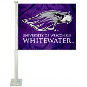 Wisconsin Whitewater Warhawks Car Window Flag