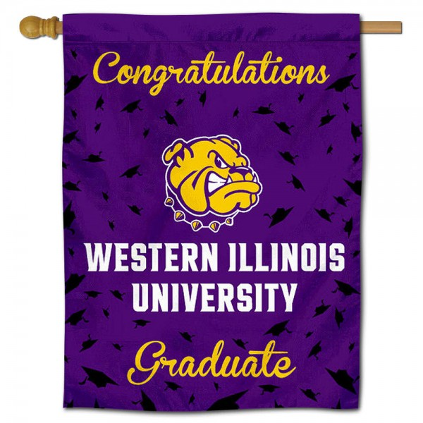 WIU Leathernecks Congratulations Graduate Flag measures 30x40 inches, is made of poly, has a top hanging sleeve, and offers dye sublimated WIU Leathernecks logos. This Decorative WIU Leathernecks Congratulations Graduate House Flag is officially licensed by the NCAA.