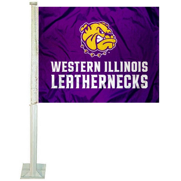 WIU Leathernecks Logo Car Flag measures 12x15 inches, is constructed of sturdy 2 ply polyester, and has screen printed school logos which are readable and viewable correctly on both sides. WIU Leathernecks Logo Car Flag is officially licensed by the NCAA and selected university.