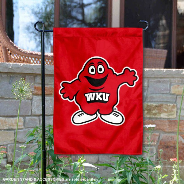 WKU Hilltoppers Big Red Mascot Garden Flag is 13x18 inches in size, is made of 2-layer polyester, screen printed Western Kentucky University athletic logos and lettering. Available with Same Day Express Shipping, Our WKU Hilltoppers Big Red Mascot Garden Flag is officially licensed and approved by Western Kentucky University and the NCAA.
