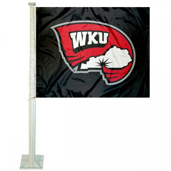 WKU Hilltoppers Black Car Window Flag measures 12x15 inches, is constructed of sturdy 2 ply polyester, and has dye sublimated school logos which are readable and viewable correctly on both sides. WKU Hilltoppers Black Car Window Flag is officially licensed by the NCAA and selected university.