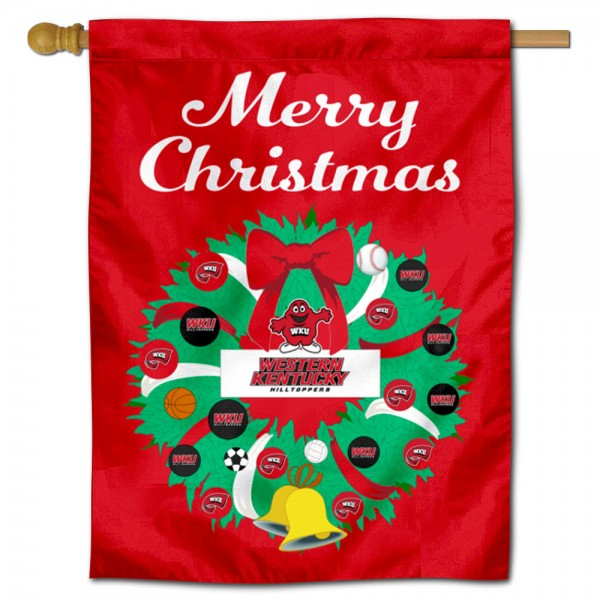 WKU Hilltoppers Happy Holidays Banner Flag measures 30x40 inches, is made of poly, has a top hanging sleeve, and offers dye sublimated WKU Hilltoppers logos. This Decorative WKU Hilltoppers Happy Holidays Banner Flag is officially licensed by the NCAA.