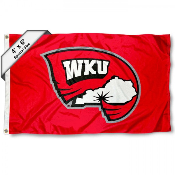 WKU Hilltoppers Large 4x6 Flag measures 4x6 feet, is made thick woven polyester, has quadruple stitched flyends, two metal grommets, and offers screen printed NCAA WKU Hilltoppers Large athletic logos and insignias. Our WKU Hilltoppers Large 4x6 Flag is officially licensed by WKU Hilltoppers and the NCAA.