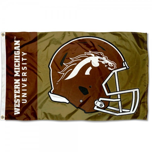 WMU Broncos Football Helmet Flag measures 3x5 feet, is made of 100% polyester, offers quadruple stitched flyends, has two metal grommets, and offers screen printed NCAA team logos and insignias. Our WMU Broncos Football Helmet Flag is officially licensed by the selected university and NCAA.