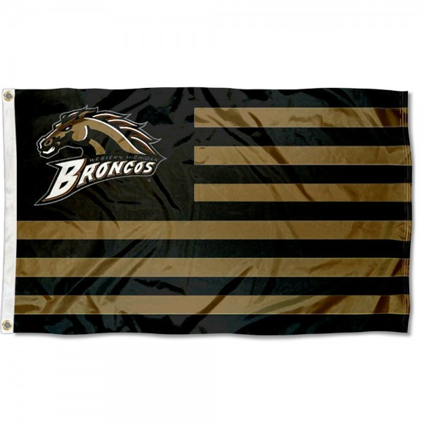WMU Broncos Stripes Flag measures 3'x5', is made of polyester, offers double stitched flyends for durability, has two metal grommets, and is viewable from both sides with a reverse image on the opposite side. Our WMU Broncos Stripes Flag is officially licensed by the selected school university and the NCAA.