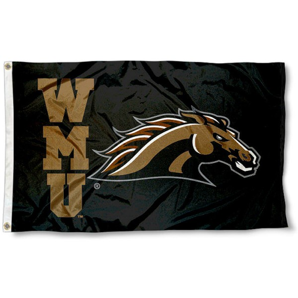 WMU Broncos WMU Flag measures 3'x5', is made of 100% poly, has quadruple stitched sewing, two metal grommets, and has double sided Team University logos. Our WMU Broncos WMU Flag is officially licensed by the selected university and the NCAA.