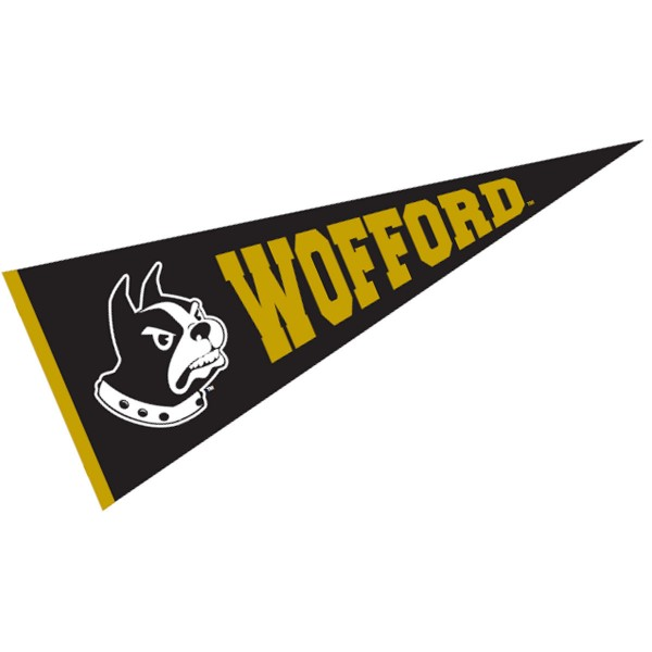 Wofford College Pennant measures 12x30 inches, is made of wool, and the School logos are printed with raised lettering. Our Wofford College Pennant is Officially Licensed and Approved by the University or Institution.