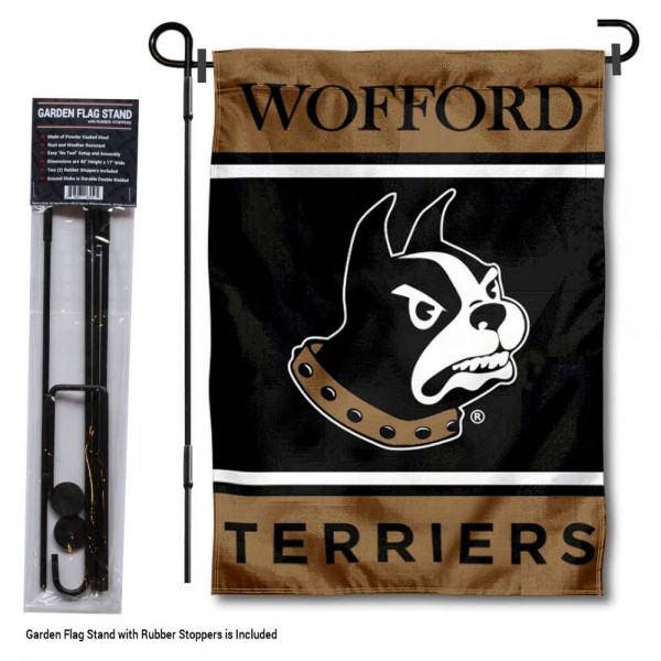 """Wofford Terriers Garden Flag and Pole Stand Holder kit includes our 13""""x18"""" garden banner which is made of 2 ply poly with liner and has screen printed licensed logos. Also, a 40""""x17"""" inch garden flag stand is included so your Wofford Terriers Garden Flag and Pole Stand Holder is ready to be displayed with no tools needed for setup. Fast Overnight Shipping is offered and the flag is Officially Licensed and Approved by the selected team."""