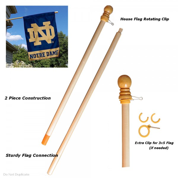 Wood 5 Foot Flag Pole is two-piece constructed, made of solid wood, and includes two (2) anti-wrap clips to keep the flag from tangling.