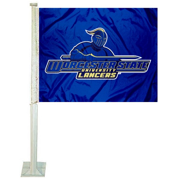 Worcester State Lancers Logo Car Flag measures 12x15 inches, is constructed of sturdy 2 ply polyester, and has screen printed school logos which are readable and viewable correctly on both sides. Worcester State Lancers Logo Car Flag is officially licensed by the NCAA and selected university.