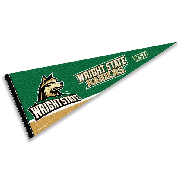 Wright State Pennant consists of our full size sports pennant which measures 12x30 inches, is constructed of felt, is single sided imprinted, and offers a pennant sleeve for insertion of a pennant stick, if desired. This Wright State University Felt Pennant is officially licensed by the selected university and the NCAA.