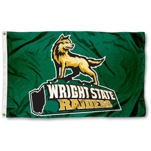 This Wright State Raiders Flag measures 3'x5', is made of 100% nylon, has quad-stitched sewn flyends, and has two-sided Wright State Raiders printed logos. Our Wright State Raiders Flag is officially licensed and all flags for Wright State Raiders are approved by the NCAA and Same Day UPS Express Shipping is available.