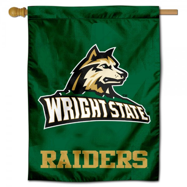 "Wright State Raiders Logo Banner Flag is constructed of polyester material, is a vertical house flag, measures 30""x40"", offers screen printed athletic insignias, and has a top pole sleeve to hang vertically. Our Wright State Raiders Logo Banner Flag is Officially Licensed by Wright State Raiders and NCAA."
