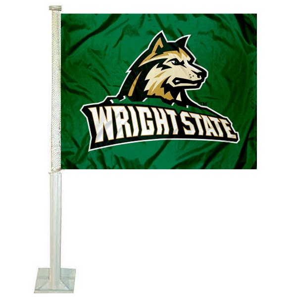 Wright State Raiders Logo Car Flag measures 12x15 inches, is constructed of sturdy 2 ply polyester, and has screen printed school logos which are readable and viewable correctly on both sides. Wright State Raiders Logo Car Flag is officially licensed by the NCAA and selected university.