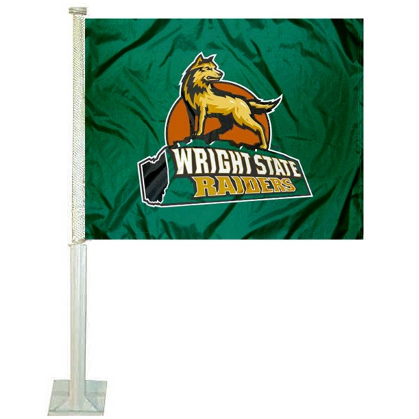 Wright State University Car Window Flag measures 12x15 inches, is constructed of sturdy 2 ply polyester, and has dye sublimated school logos which are readable and viewable correctly on both sides. Wright State University Car Window Flag is officially licensed by the NCAA and selected university.