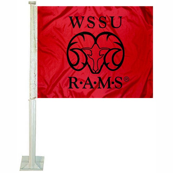 WSSU Rams Car Flag measures 12x15 inches, is constructed of sturdy 2 ply polyester, and has screen printed school logos which are readable and viewable correctly on both sides. WSSU Rams Car Flag is officially licensed by the NCAA and selected university.