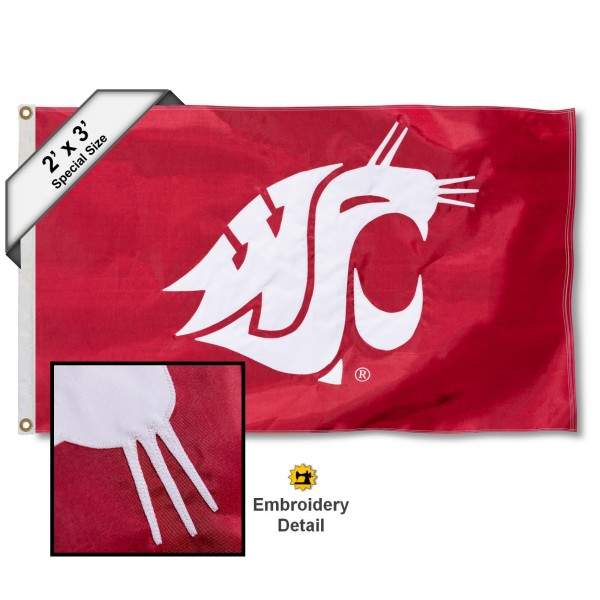 WSU Cougar Small 2'x3' Flag measures 2x3 feet, is made of 100% nylon, offers quadruple stitched flyends, has two brass grommets, and offers embroidered WSU Cougar logos, letters, and insignias. Our WSU Cougar Small 2'x3' Flag is Officially Licensed by the selected university.