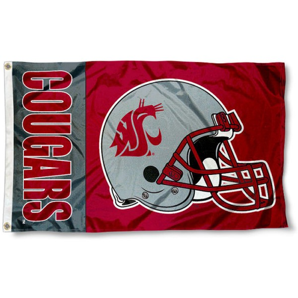 WSU Cougars Football Flag measures 3'x5', is made of 100% poly, has quadruple stitched sewing, two metal grommets, and has double sided WSU Cougars logos. Our WSU Cougars Football Flag is officially licensed by the selected university and the NCAA.