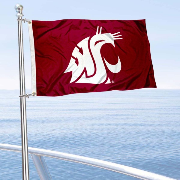 WSU Cougars Golf Cart Flag is a small 12x18 inches, made of 2-ply polyester with quad stitched flyends, and is double-sided. Our Golf Cart Logo Flags are Officially Licensed and Approved by Washington State University and NCAA.