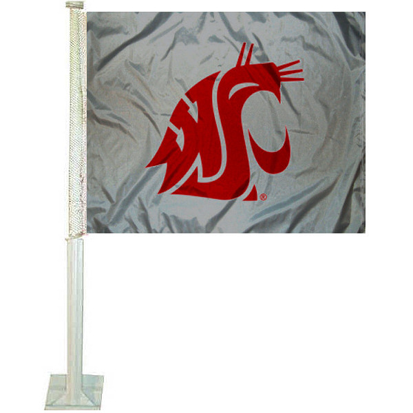 WSU Cougars Gray Car Flag measures 12x15 inches, is made of 2 ply polyester, and offers screen printed insignias which are readable and viewable correctly on both sides. WSU Cougars Gray Car Flag is officially licensed by the NCAA and selected university