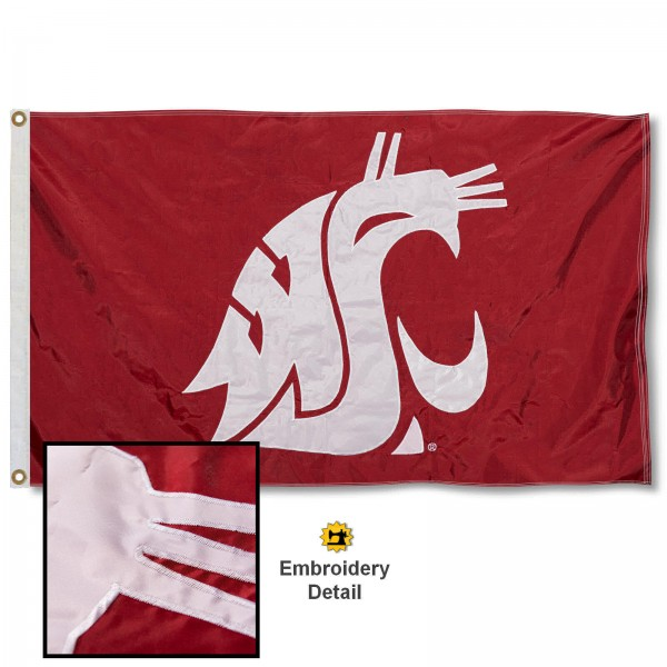 WSU Cougars Nylon Embroidered Flag measures 3'x5', is made of 100% nylon, has quadruple flyends, two metal grommets, and has double sided appliqued and embroidered University logos. These WSU Cougars 3x5 Flags are officially licensed by the selected university and the NCAA.